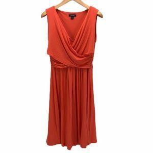 Lands End Women's Faux Wrap Dress Orange Size M